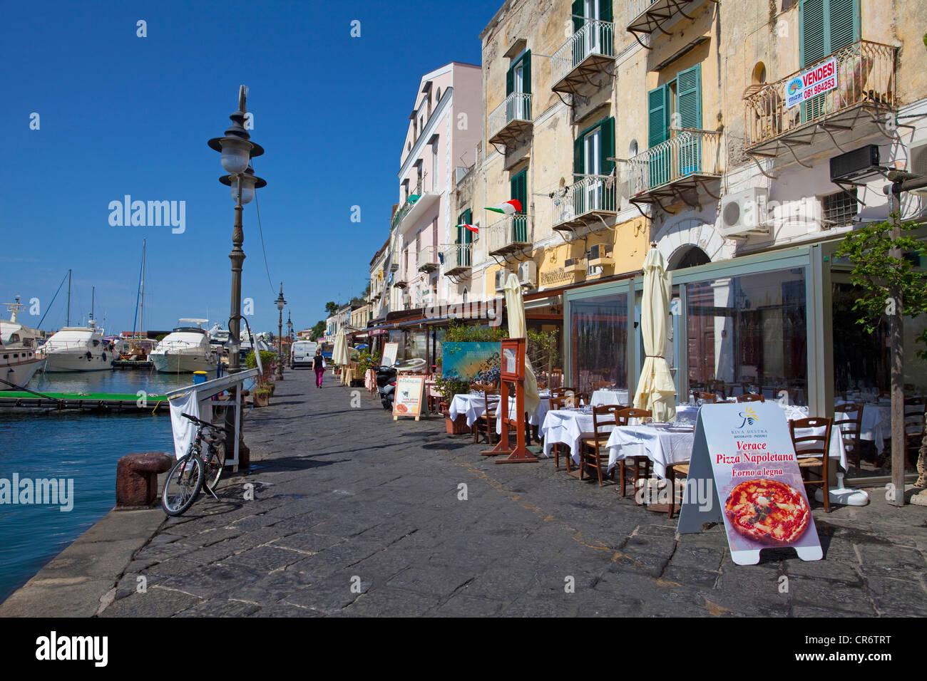 Restaurants at the harbour, Ischia Porto, Ischia, Gulf of Naples, Campania region, Italy, Europe - Stock Image