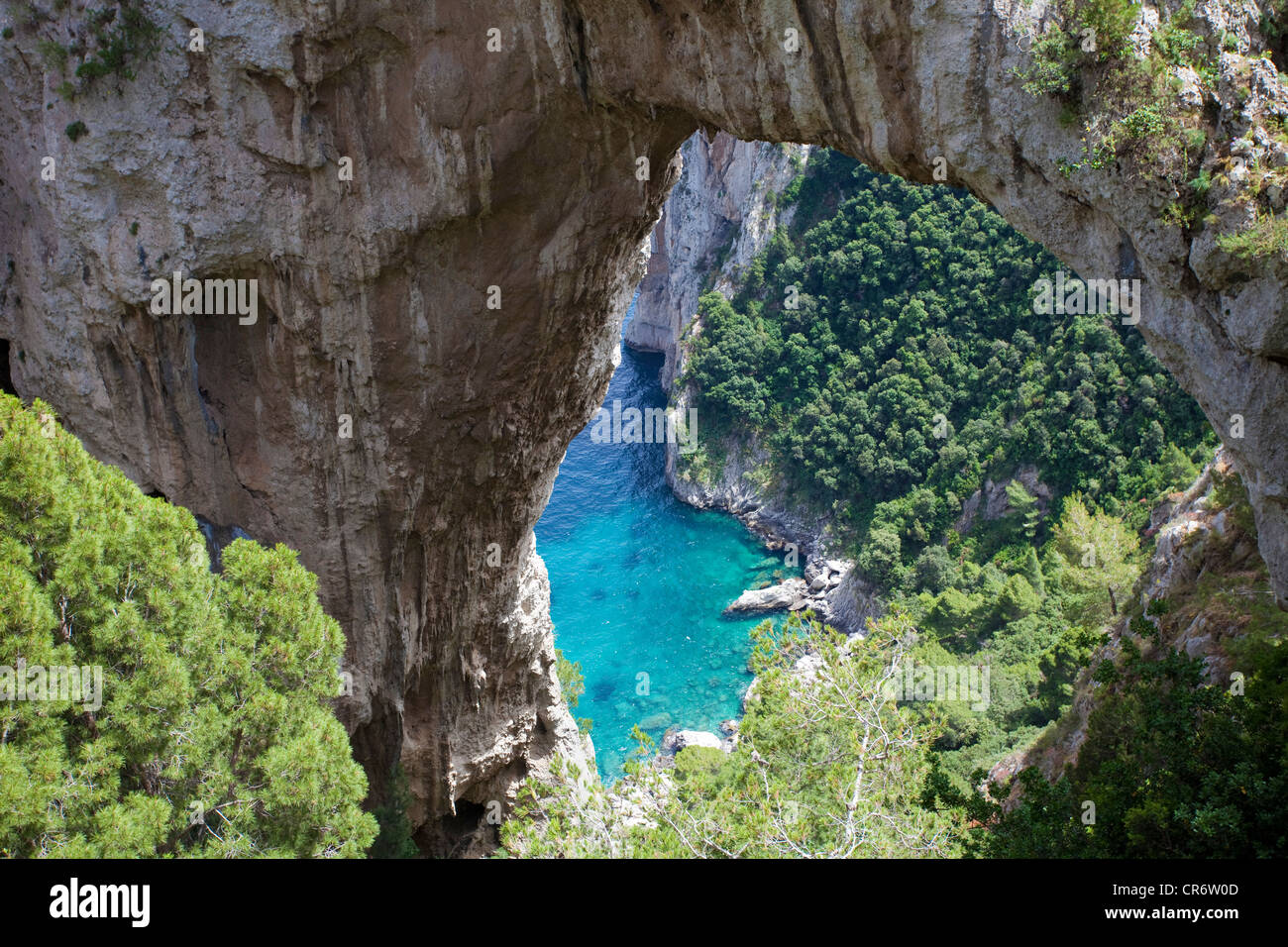 Natural rock arch, Capri, Gulf of Naples, Campania region, Italy, Europe - Stock Image