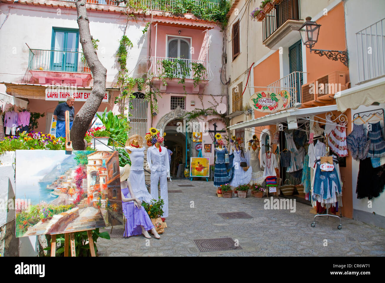 World-renowned fashion from , known as Moda , shops in , Amalfi Coast, Unesco World Heritage Site, Province of Salerno - Stock Image