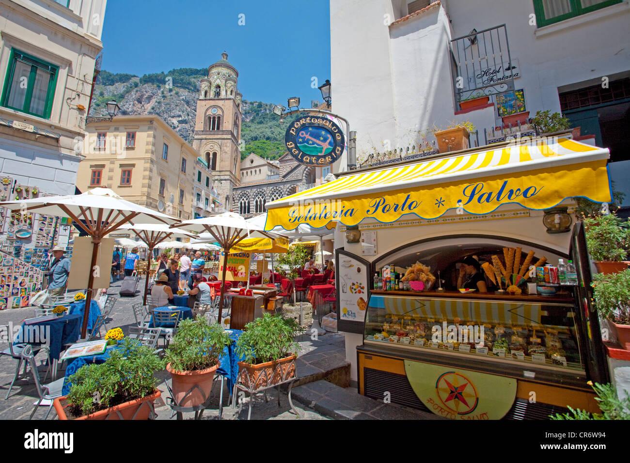 Gelateria, ice creams, on the Piazza Flavio Gioia, ,  Coast, Unesco World Heritage Site, Province of Salerno, Gulf - Stock Image