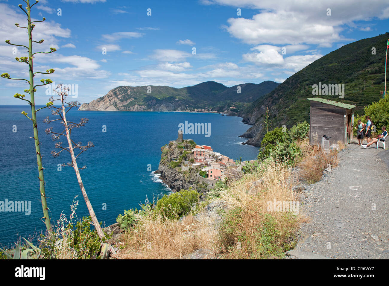 Ticket booth at the beginning of the hiking trail from  to Corniglia, only hiking trail in Italy that charges an - Stock Image