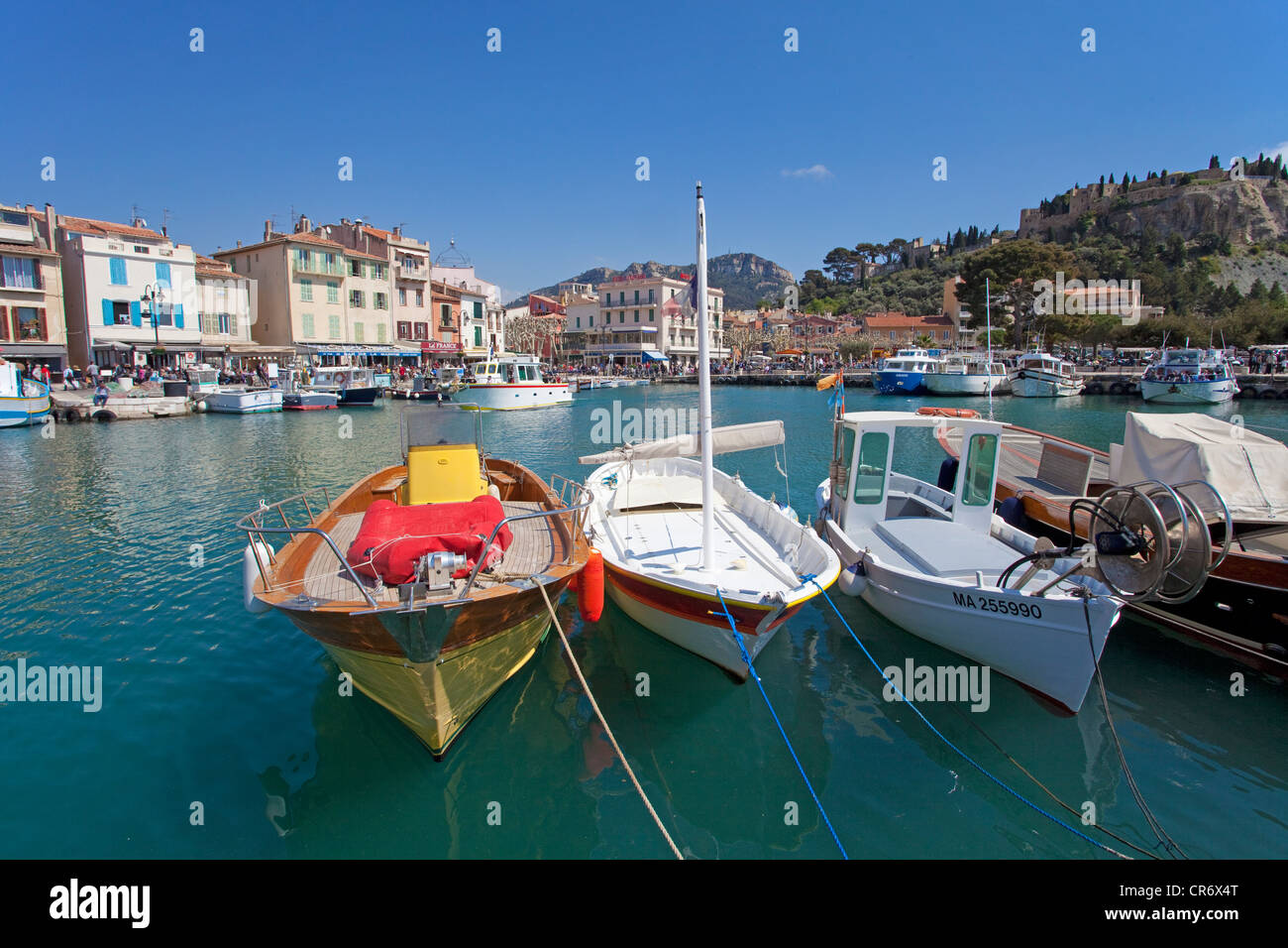 Fishing boats on moorings, Cassis, Bouches-du-Rhone, Southern France, France, Europe - Stock Image