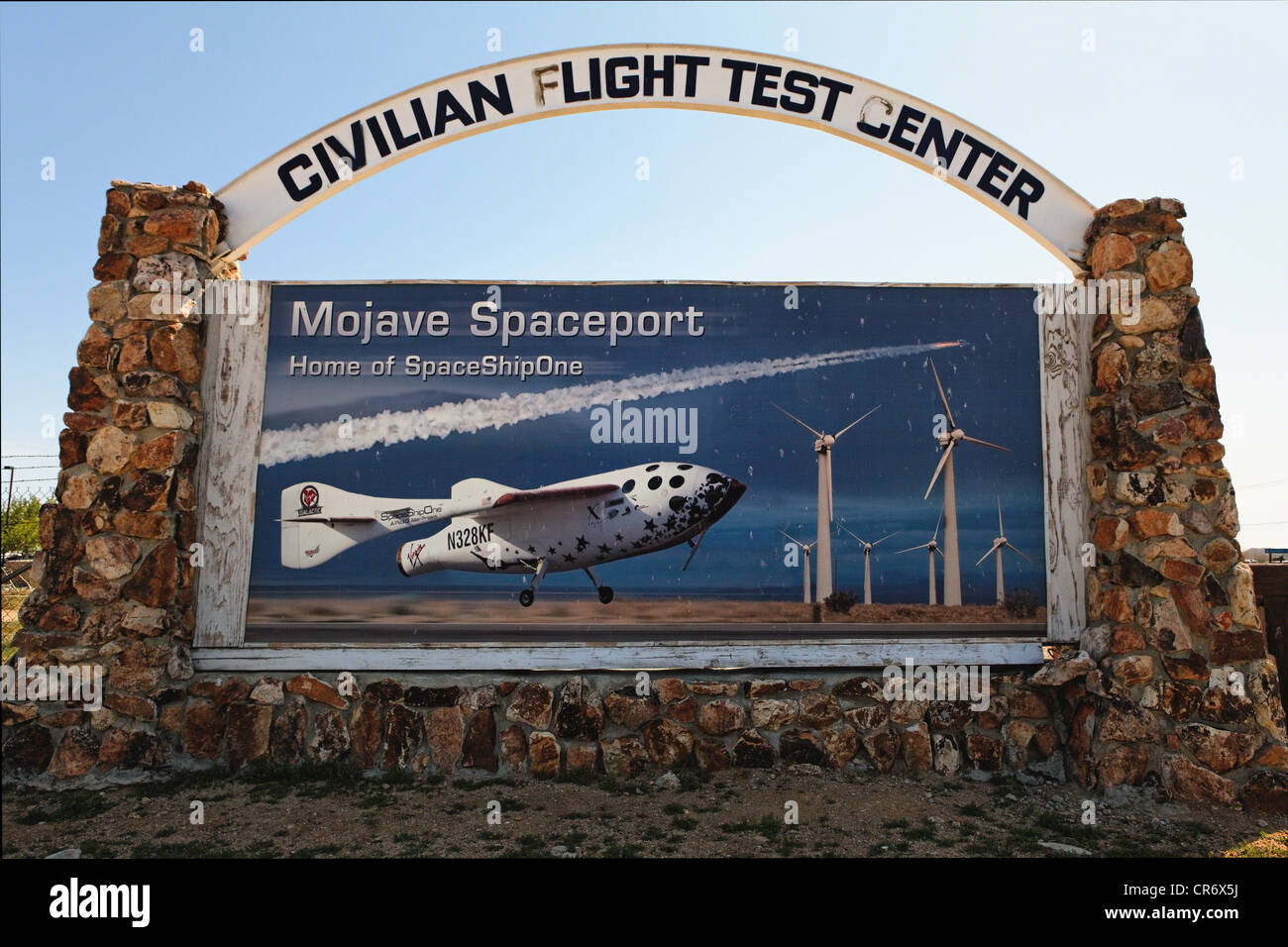Sign at the Entrance of the Mojave Air and Spaceport, Mojave, California - Stock Image