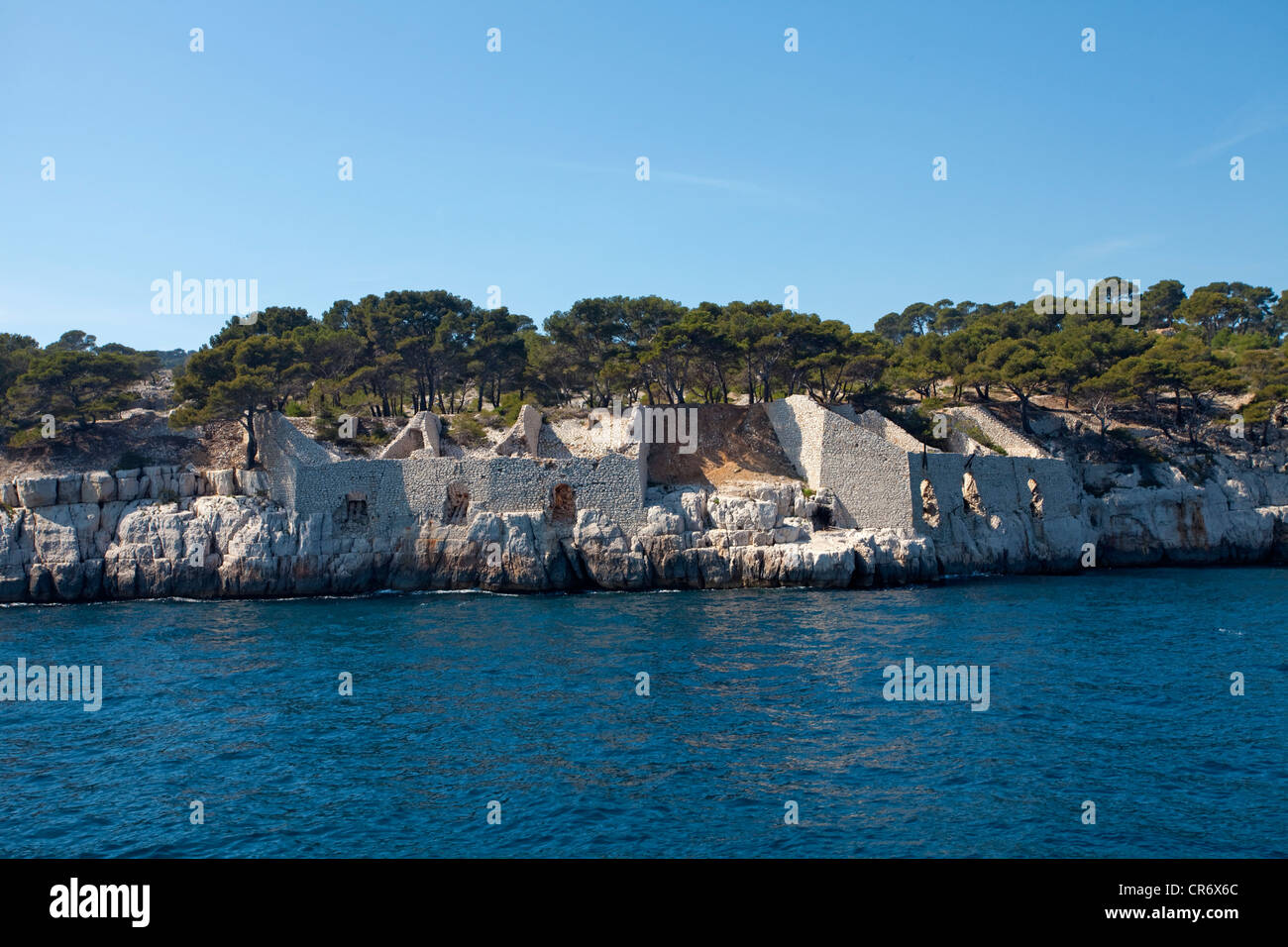 Ruins of settlements of past centuries near Calanque de Port Miou, , Bouches-du-Rhone department, French Riviera - Stock Image