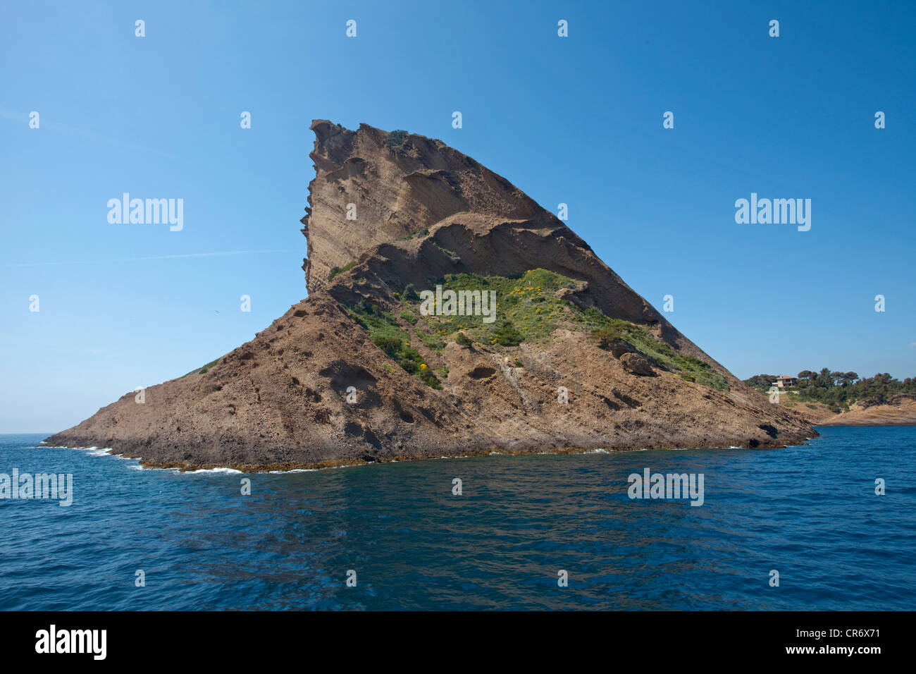 Rock, Le Bec d'Aigle, Eagle's Beak, rock behind the dockyard of , Bouches-du-Rhone department, French Riviera, - Stock Image