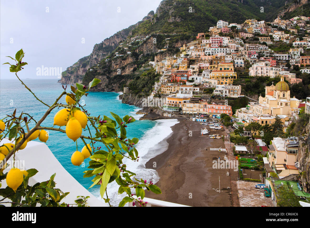 High Angle View of a Hillside Town, Positano, Campania, Italy - Stock Image