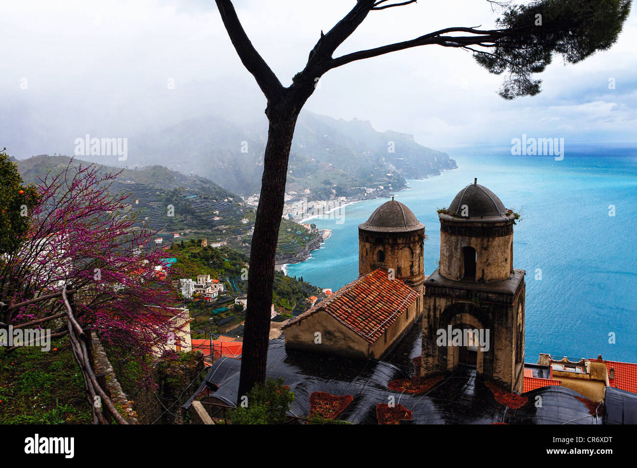 High Angle View of the the Amalfi Coast from Villa Rufulo, Ravello, Campania, Italy - Stock Image