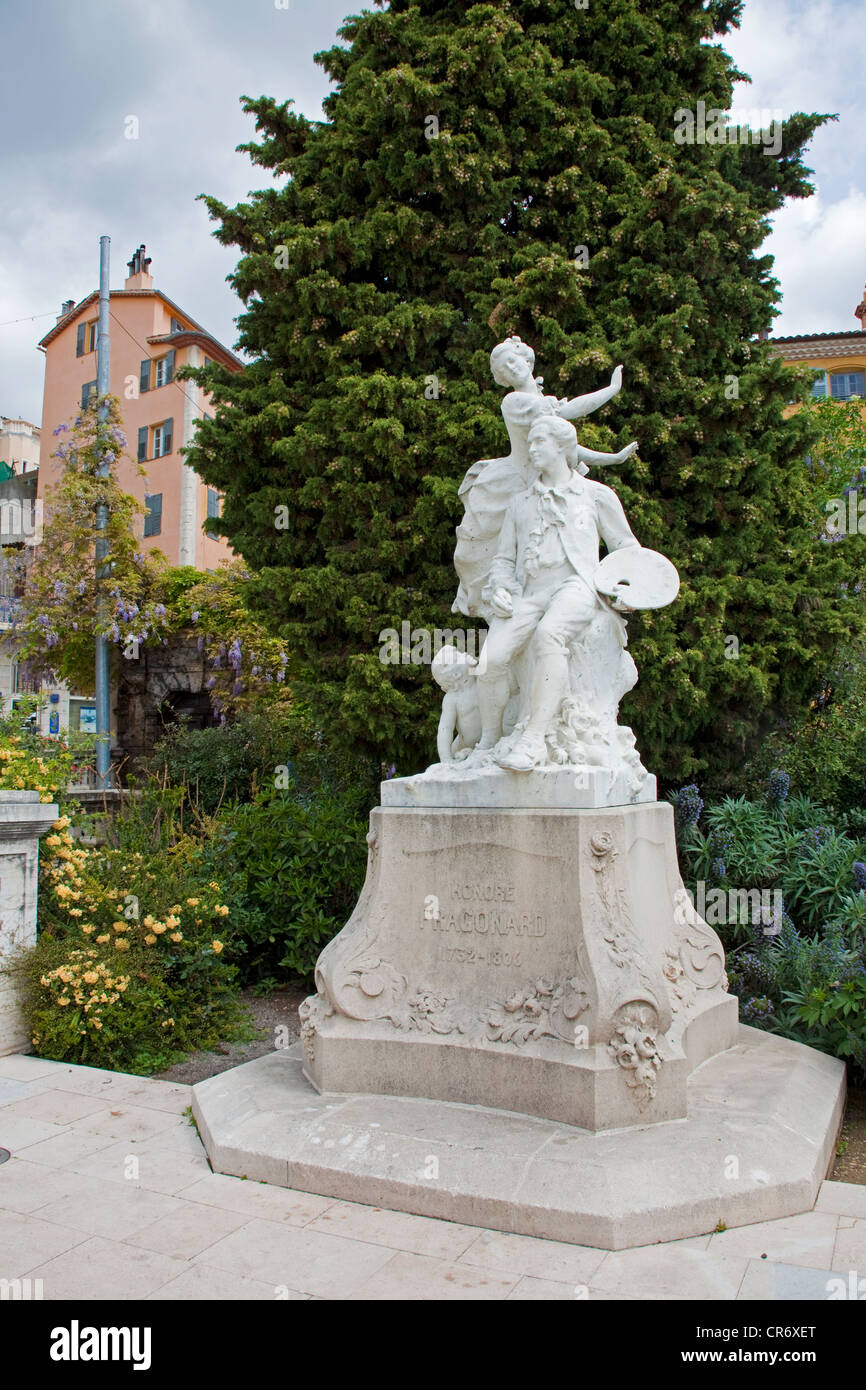 Monument dedicated to Jean-Honoré Fragonard, 1732 - 1806, historic district of , Alpes-Maritimes department, - Stock Image
