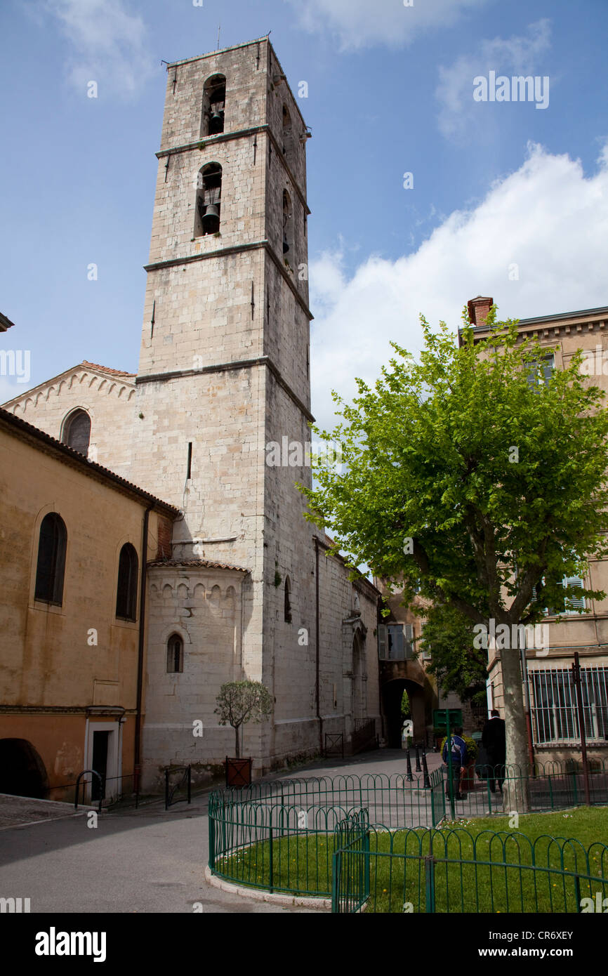 Belltower of  Cathedral, a three-aisled basilica built around 1200, historic district of , Alpes-Maritimes department - Stock Image