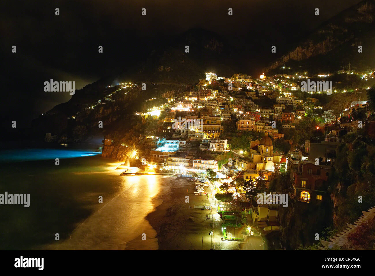 High Angle View of Positano Nightscape, Campania, Italy - Stock Image