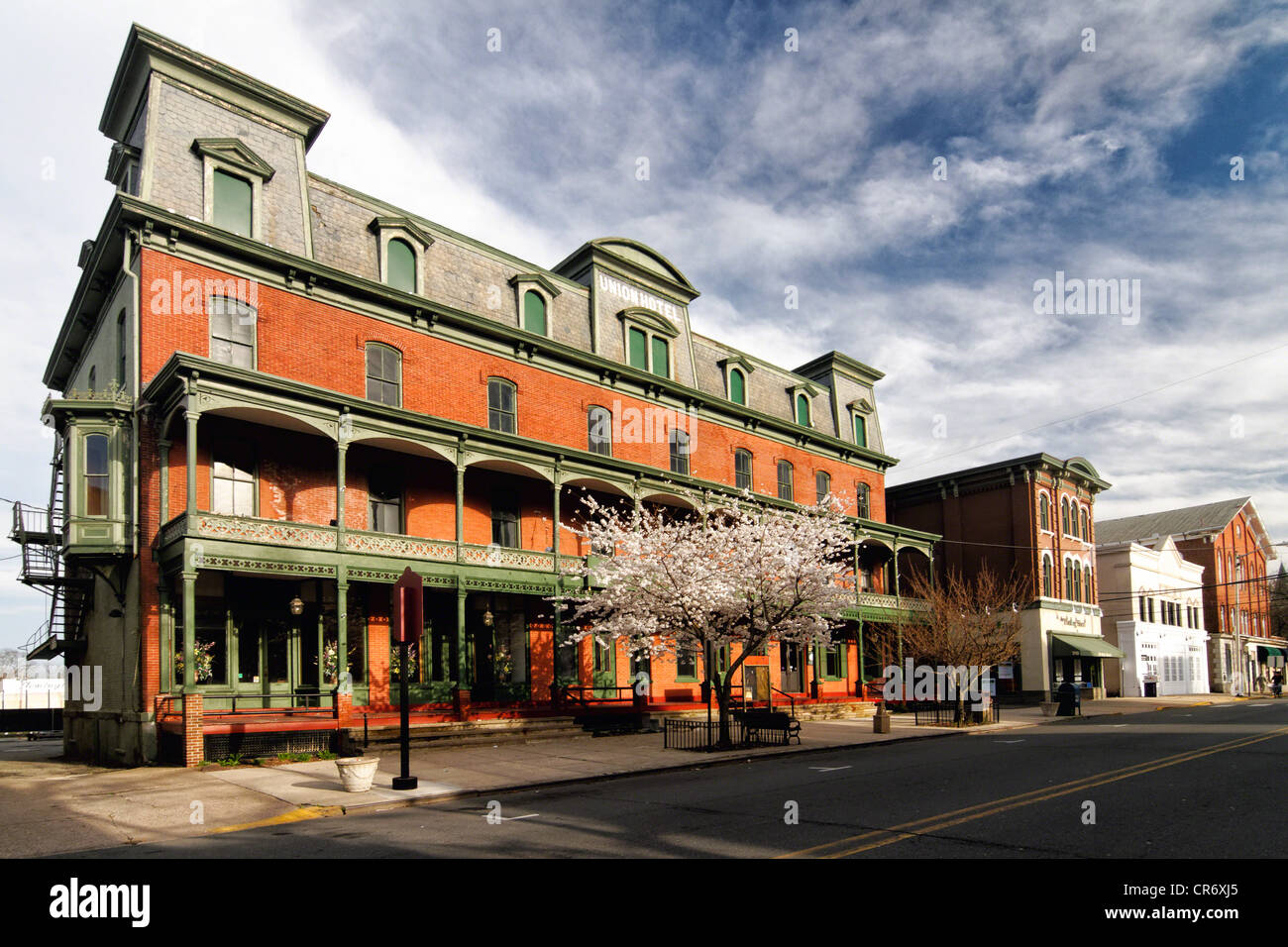 View of the Historic Union Hotel in Flemington, Hunterdon County, New Jersey - Stock Image