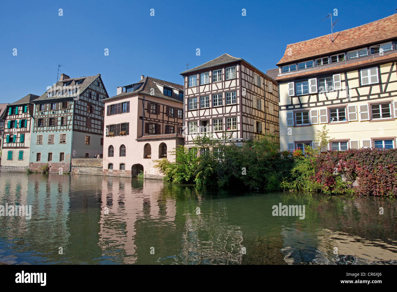 Half-timber houses on the river Ille, Petite France, Strasbourg, Alsace, France, Europe - Stock Image