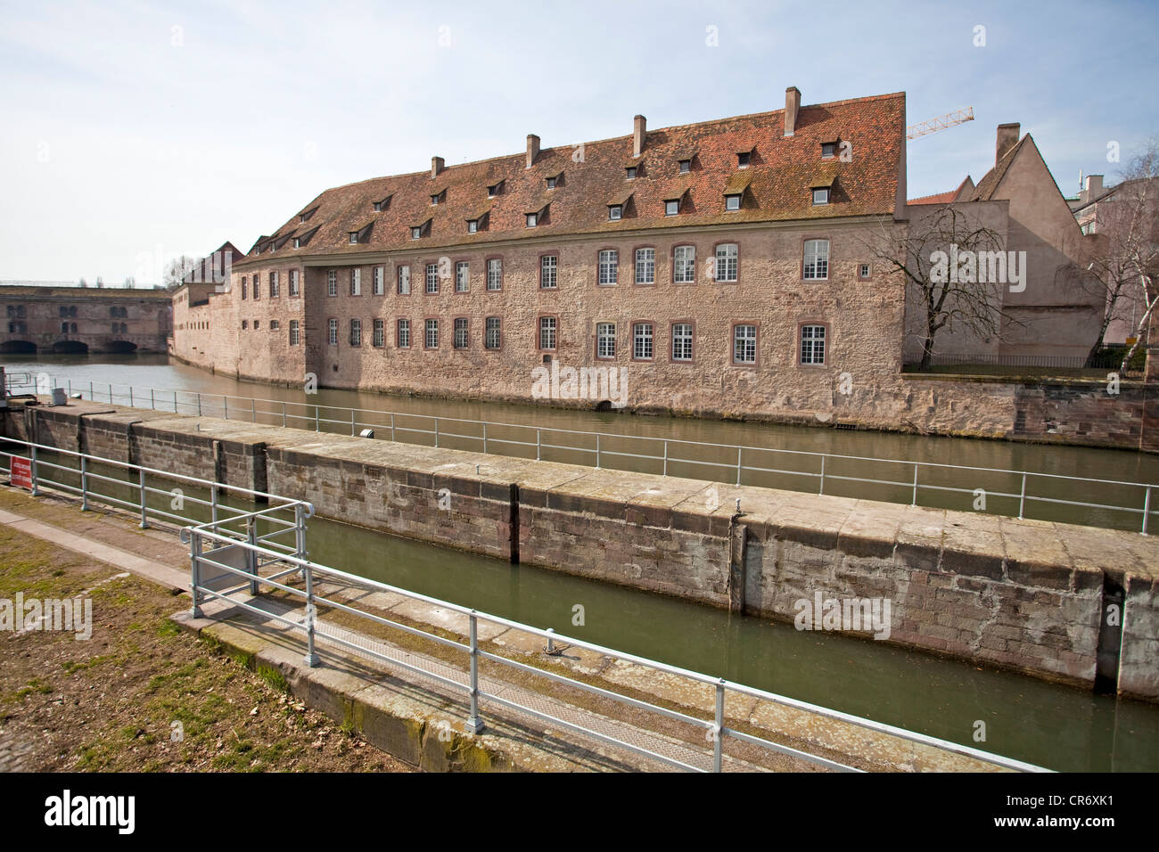 Barrage Vauban, former city fortifications on the Ill River, barrage, Strasbourg, Alsace, France, Europe - Stock Image
