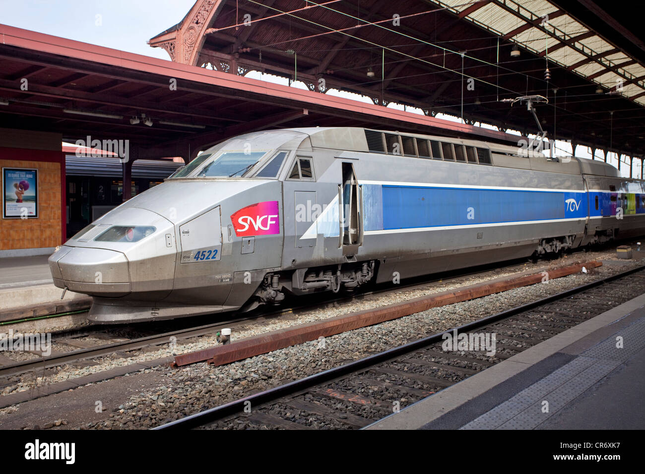 Train à Grande Vitesse, TGV high speed train, can go up to 320 km/h,  Central Station, , Alsace, France, Europe - Stock Image