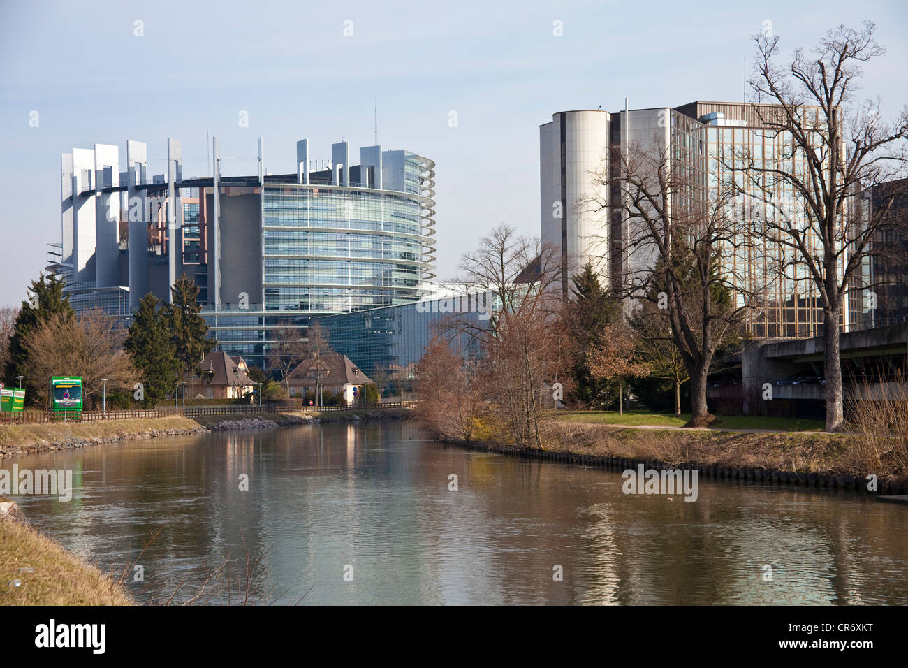 European Parliament on the Ill River, Strasbourg, Alsace, France, Europe - Stock Image