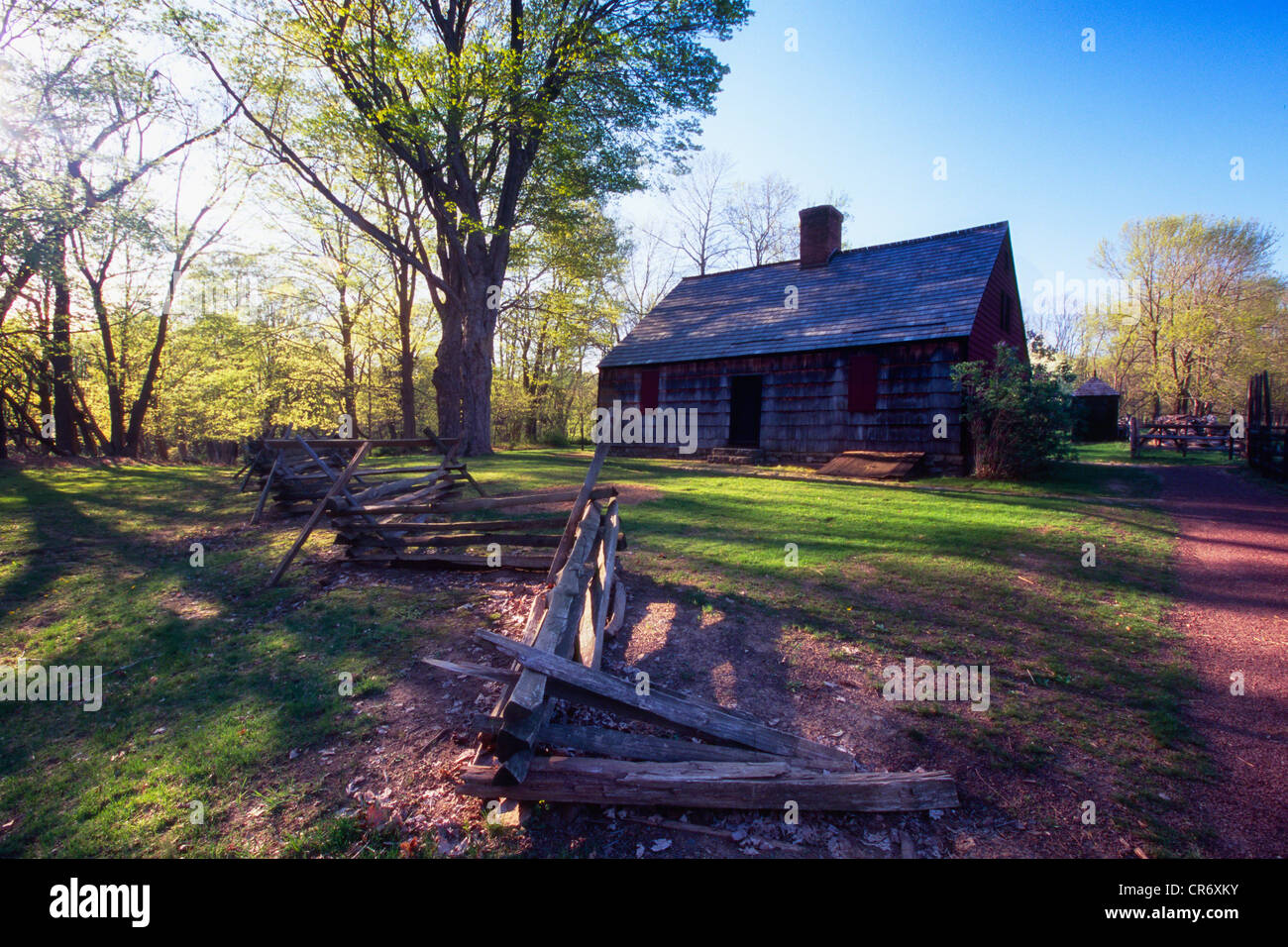 Spring Morning at the Historic Wick Farmhouse, Jockey Hollow State Park, Morristown, New Jersey - Stock Image