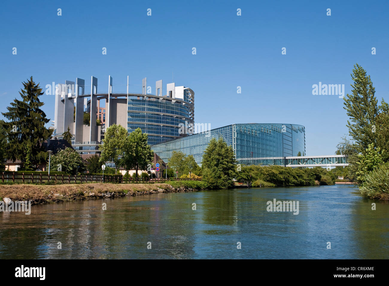 European Parliament on the River Ill, Strasbourg, Alsace, France, Europe - Stock Image