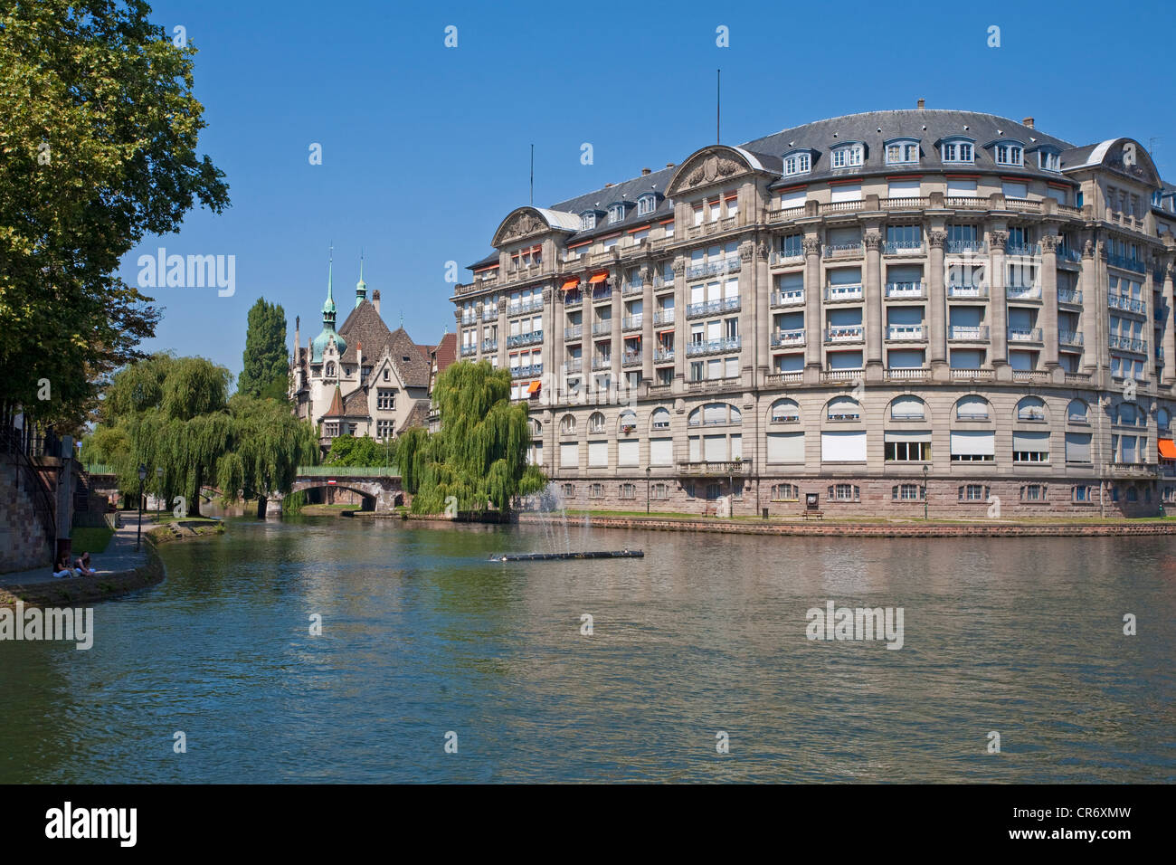 Lycee, Pontonniers, River Ill, Strasbourg, Alsace, France, Europe - Stock Image