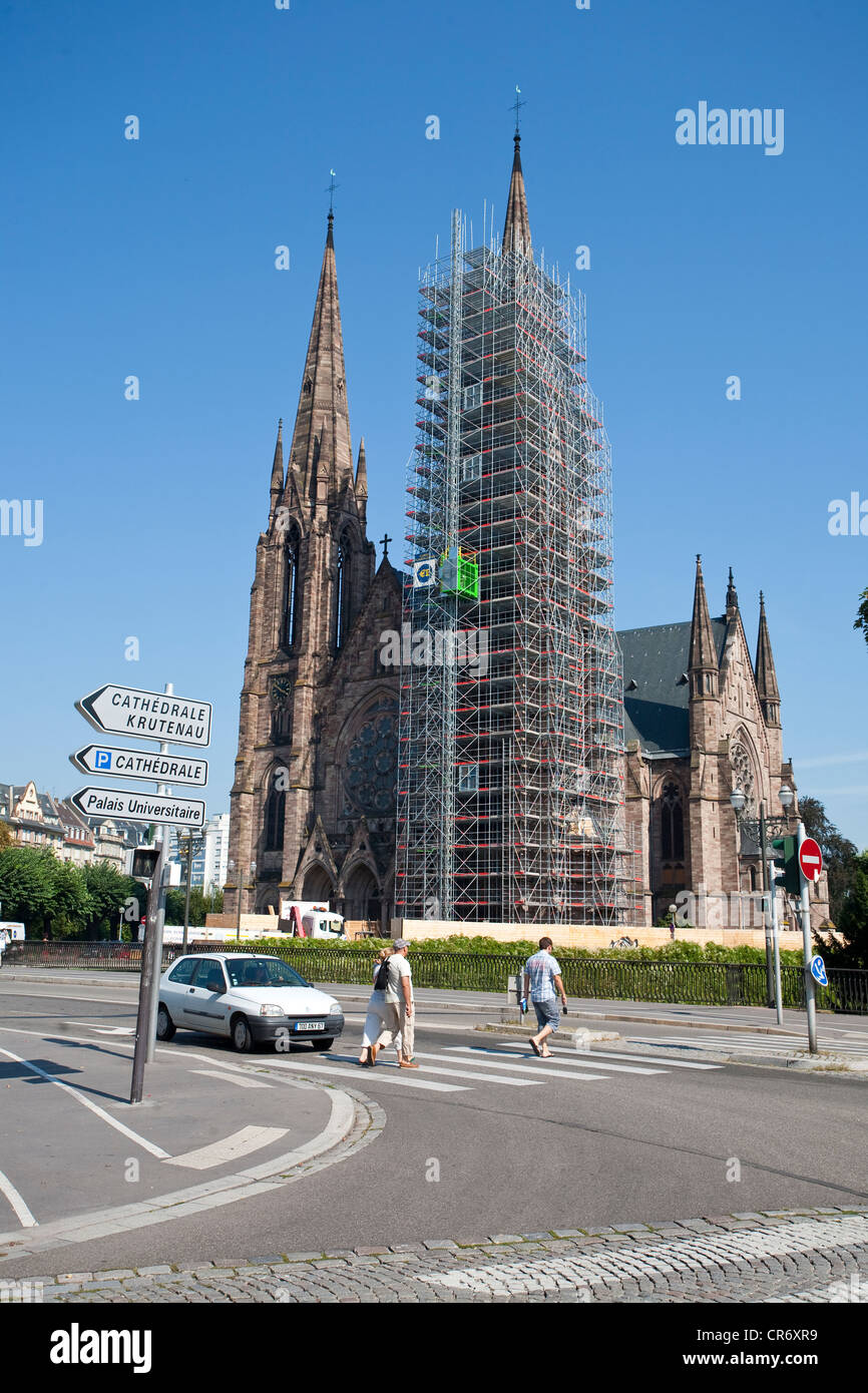 Protestant Église Saint-Paul church, scaffolding for the restauration of the south tower, Strasbourg, Alsace, - Stock Image