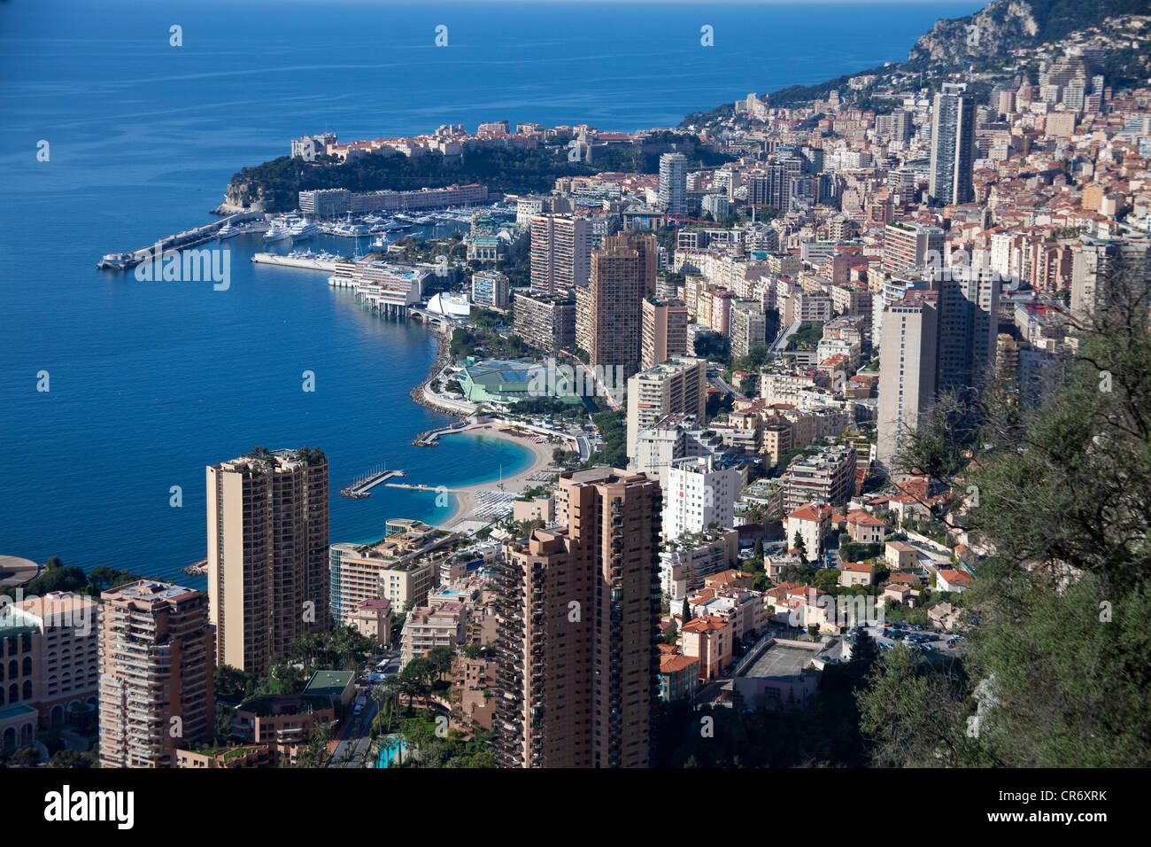 View from the Grande Corniche on Monaco, Europa - Stock Image