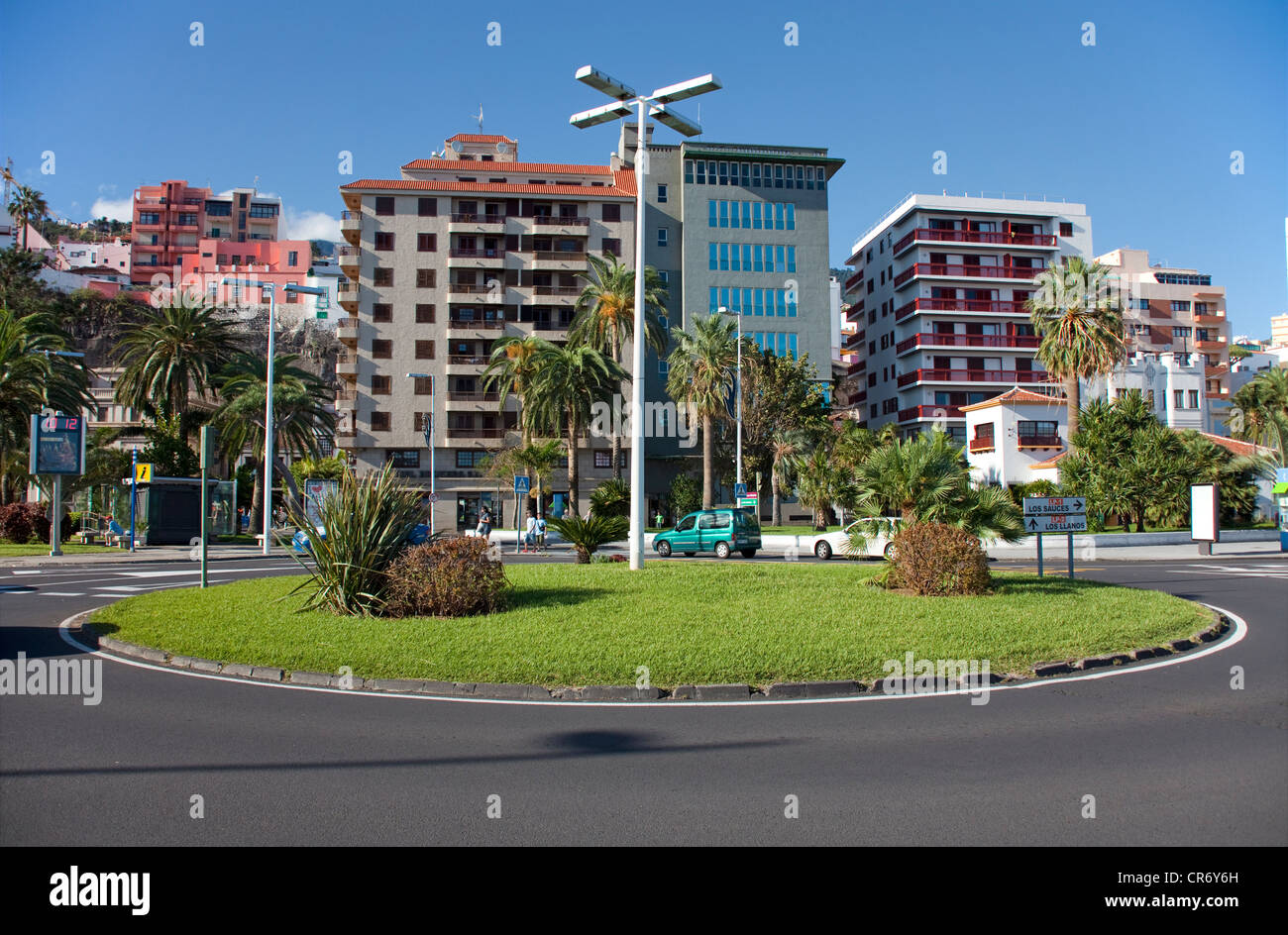 Plaza de la Constitucion, traffic roundabout, Santa Cruz, La Palma, Spain, Canary Islands, Europe, Atlantic Ocean - Stock Image