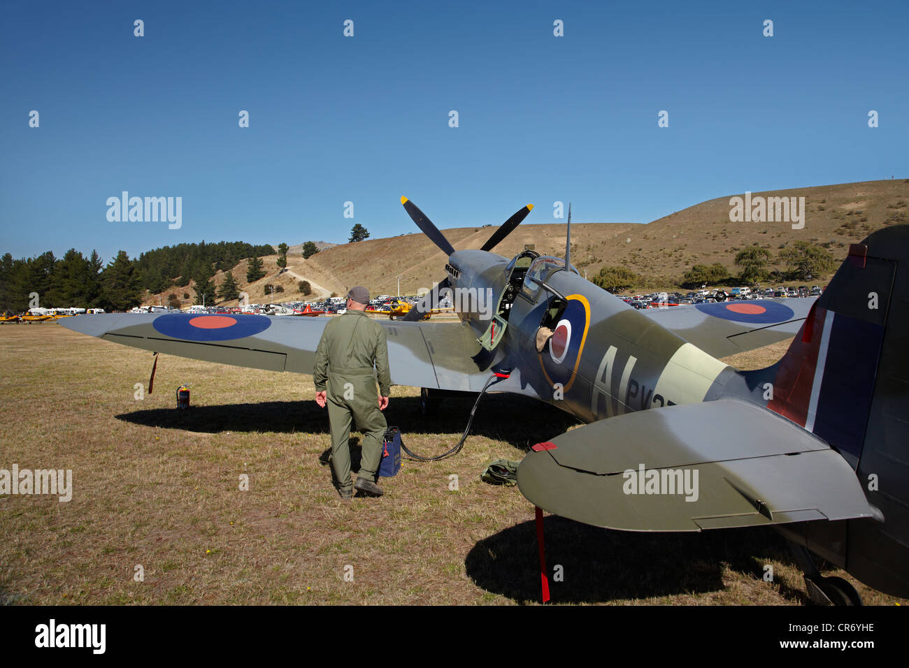 Supermarine Spitfire - British and allied WWII Fighter Plane, Warbirds over Wanaka, South Island, New Zealand - Stock Image
