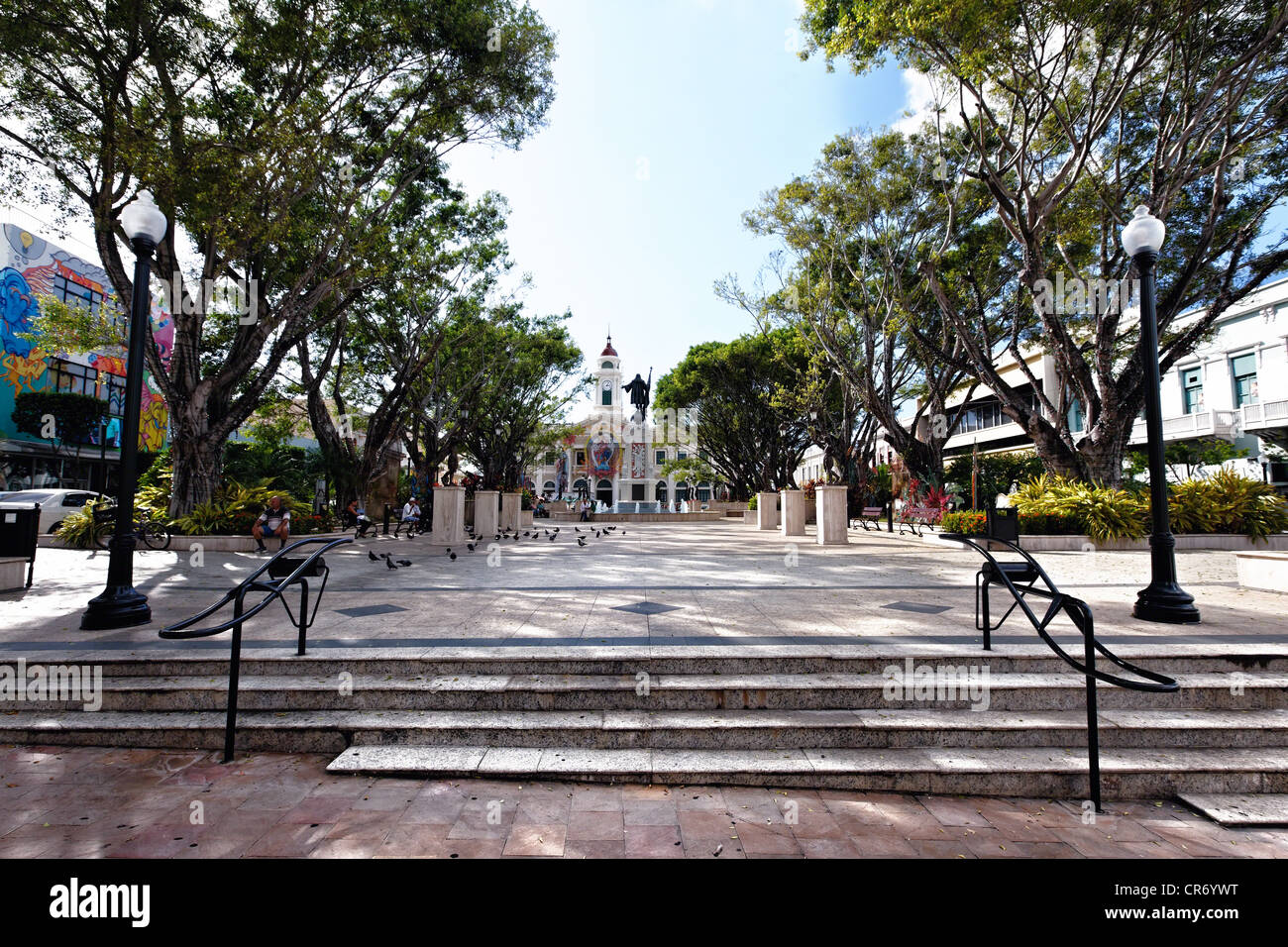 View of Columbus Square, Mayaguez, Puerto Rico - Stock Image