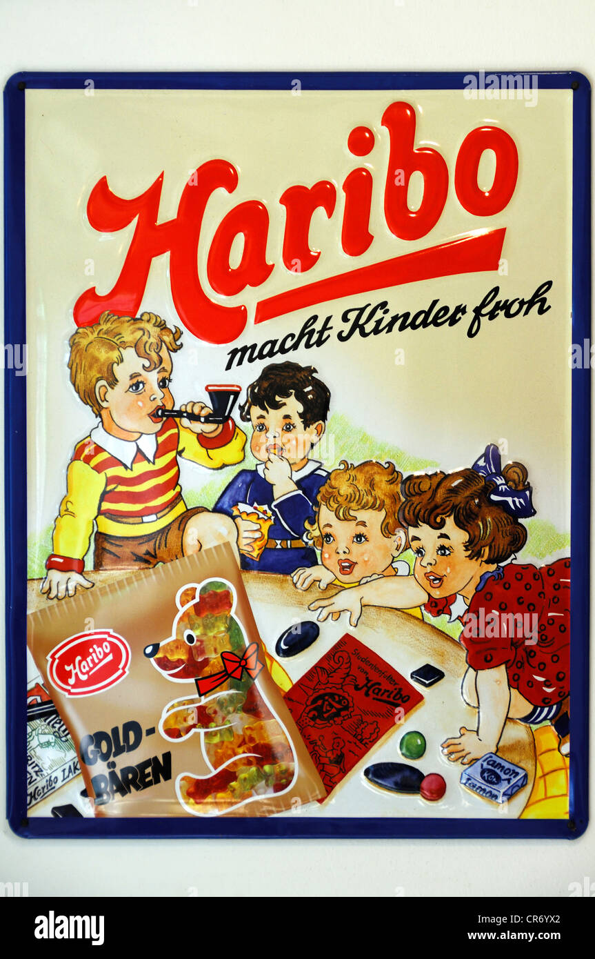 Historic Haribo metal sign from the 1950's, Egloffstein, Upper Franconia, Bavaria, Germany, Europe - Stock Image