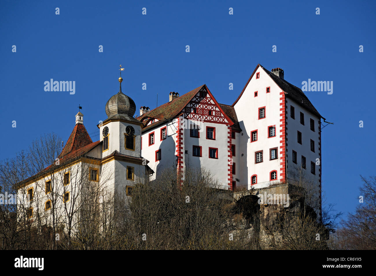 Burg Egloffstein Castle, mentioned in 1358, with castle capel from 1750, Egloffstein, Upper Franconia, Bavaria, - Stock Image