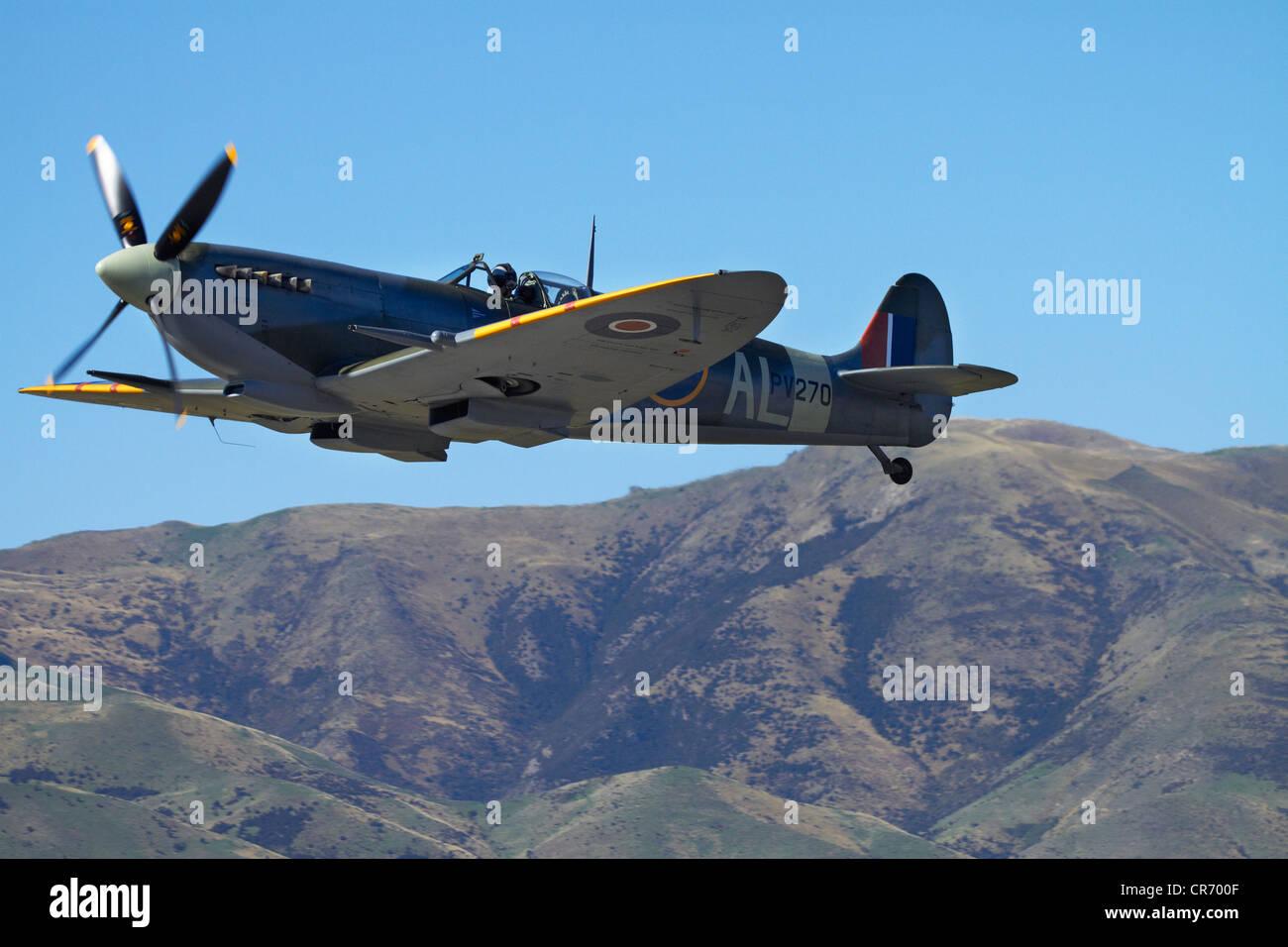 Supermarine Spitfire - British and allied WWII Fighter Plane, Wanaka, South Island, New Zealand - Stock Image