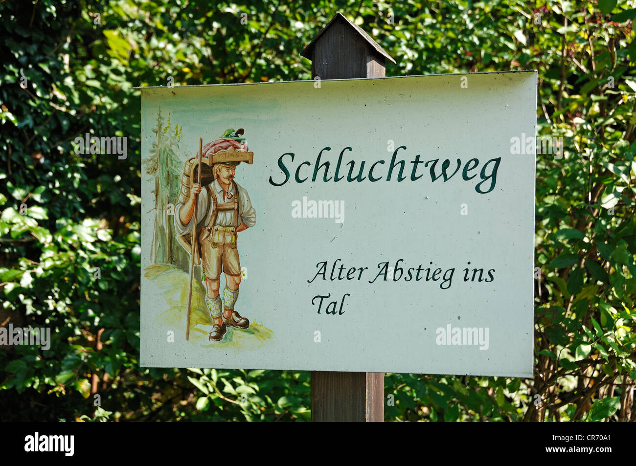 Signpost for 'Schluchtenweg, alter Abstieg ins Tal', German for 'gorge trail, old descent into the valley', - Stock Image