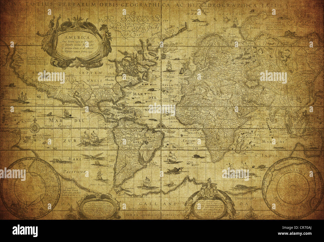 vintage map of the world 1635 - Stock Image