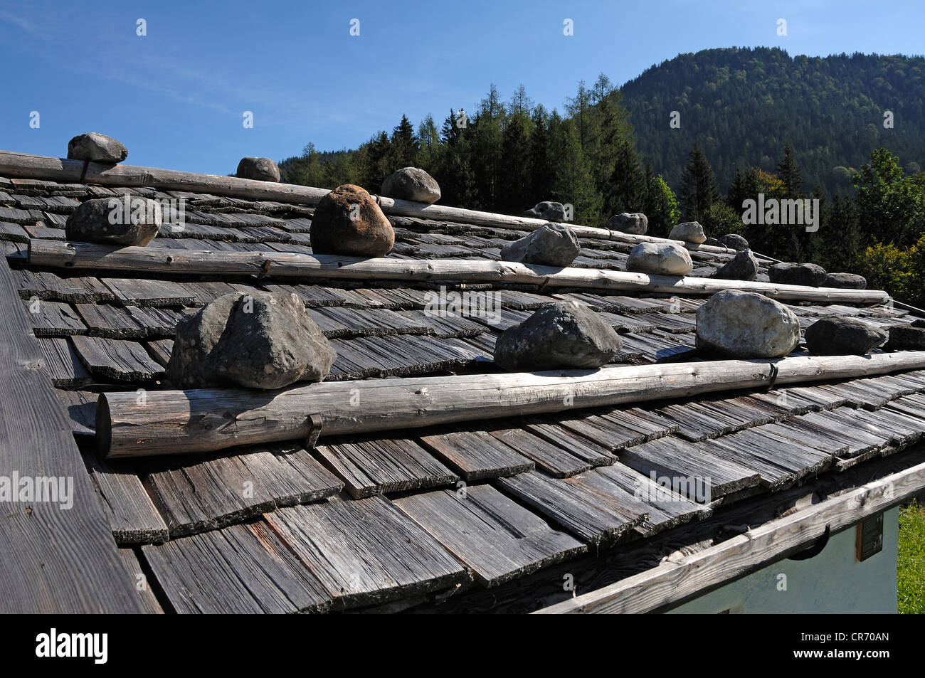Shingle roof weighted with rocks, Ramsau, Upper Bavaria, Germany, Europe Stock Photo