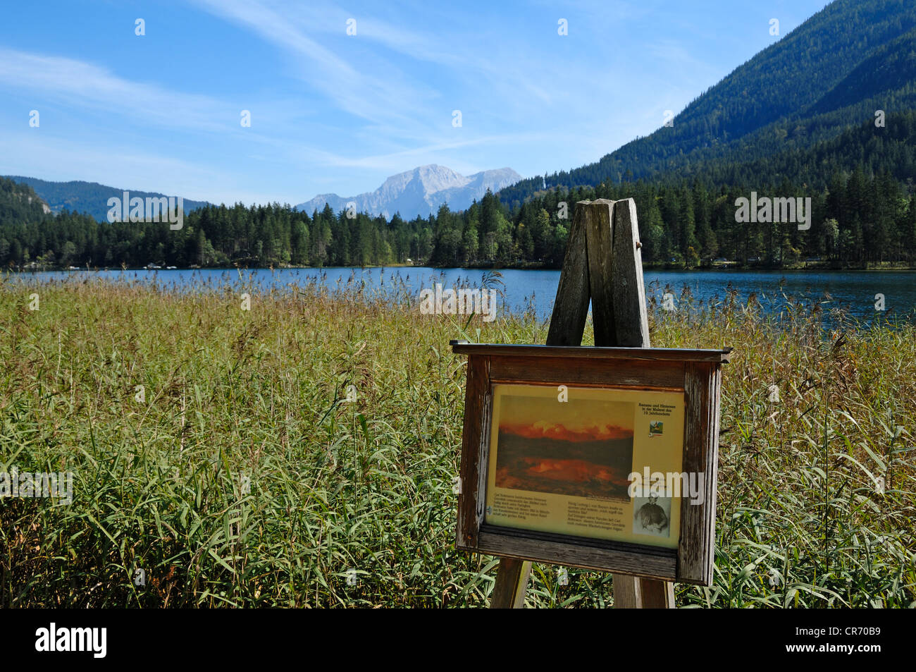 Malerwinkel, easel with painting by Carl Rottmann, 1797 - 1850, Mt Hoher Goell in the back, on Hintersee lake, Ramsau Stock Photo