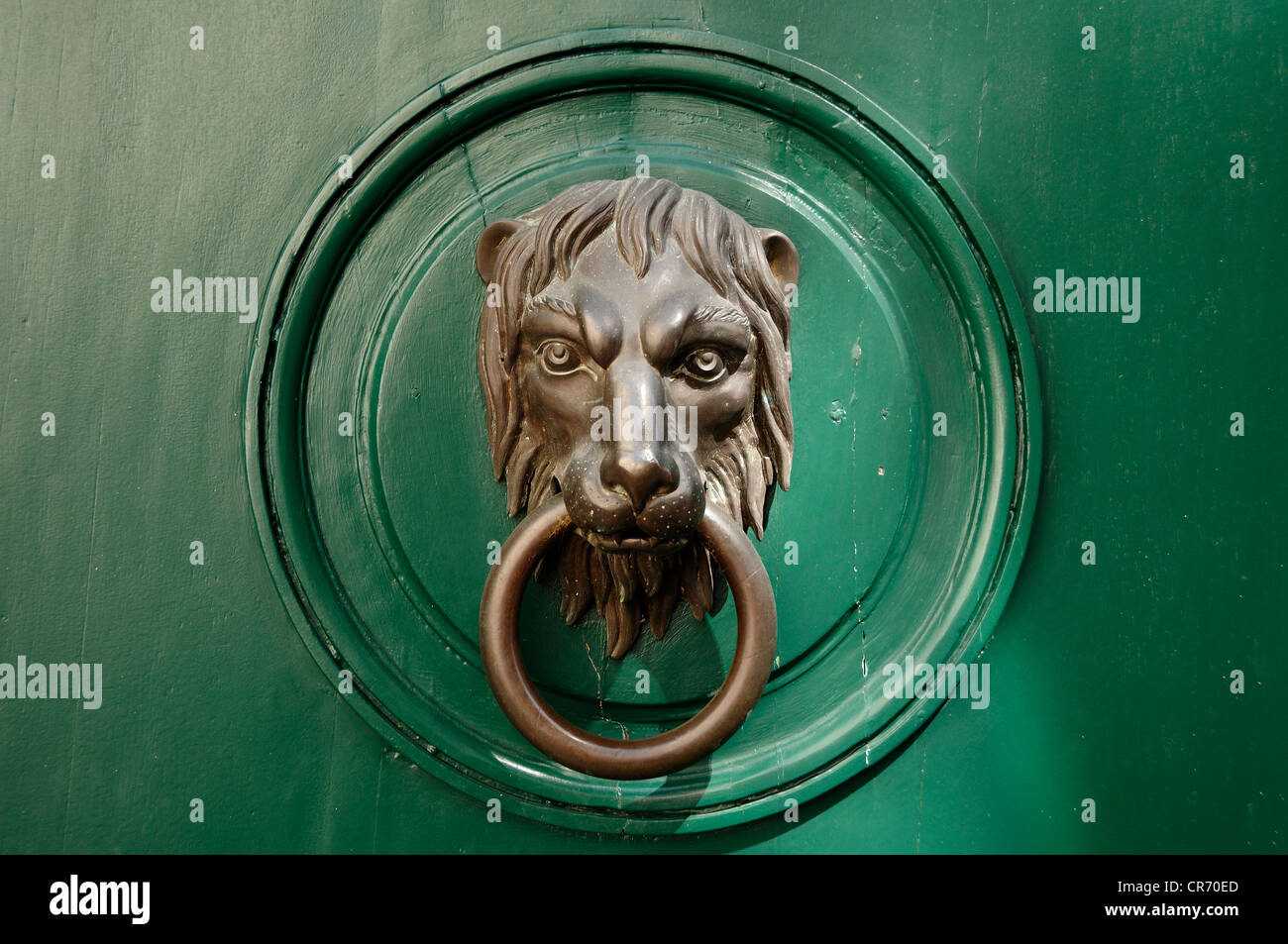 Lion's head, door knocker on a wealthy town house, Gruenangergasse street 1, Vienna, Austria, Europe - Stock Image