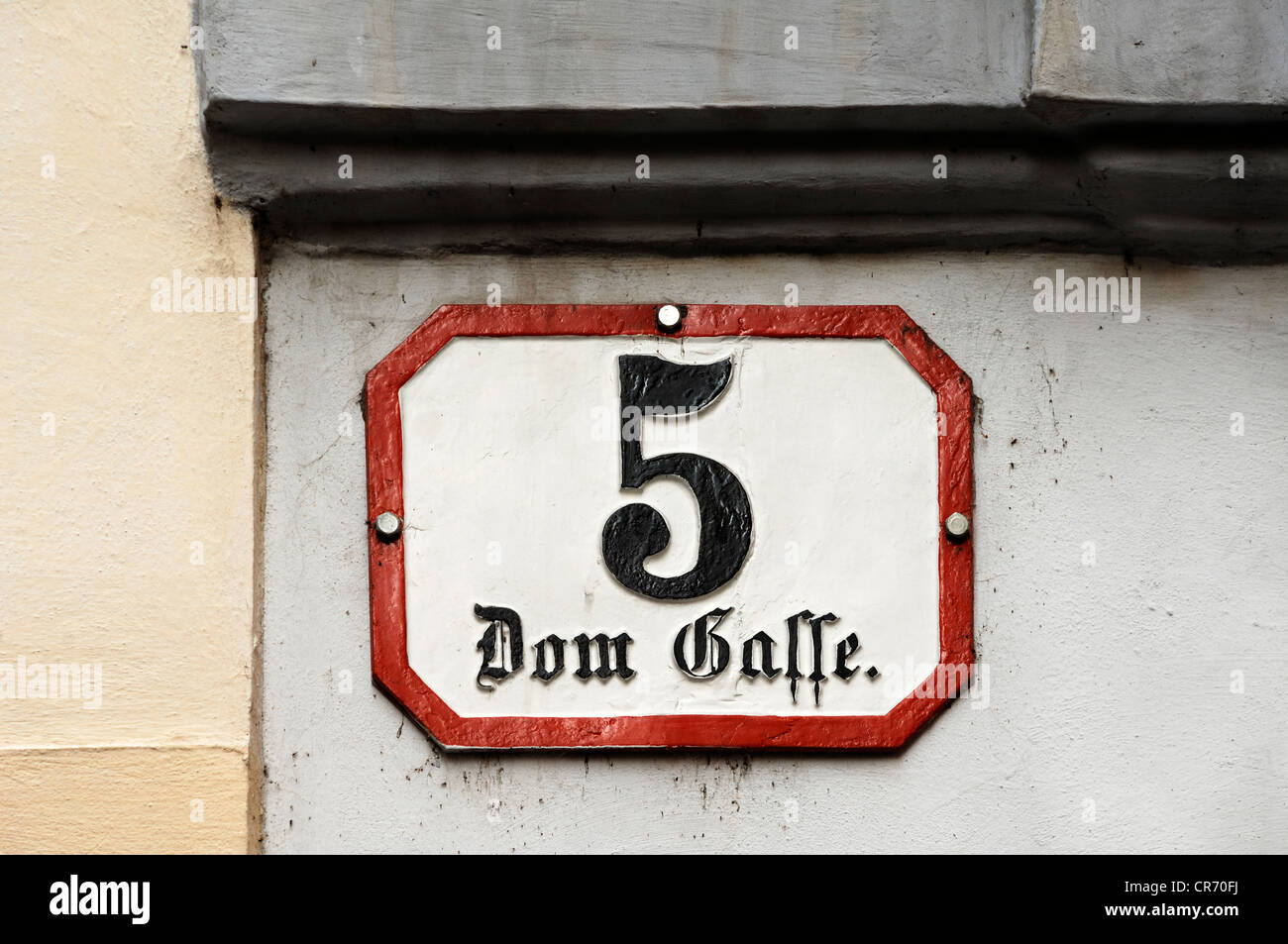 Sign, Dom Gasse street 5, Wolfgang Amadeus Mozart lived here from 1784 to 1787, Vienna, Domgasse street 5, Vienna, Stock Photo