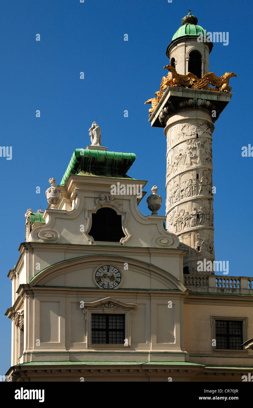 Karlskirche, St. Charles Church, with a column, Roman Baroque, completed in 1737, Argentinierstrasse, Vienna, Austria, Stock Photo