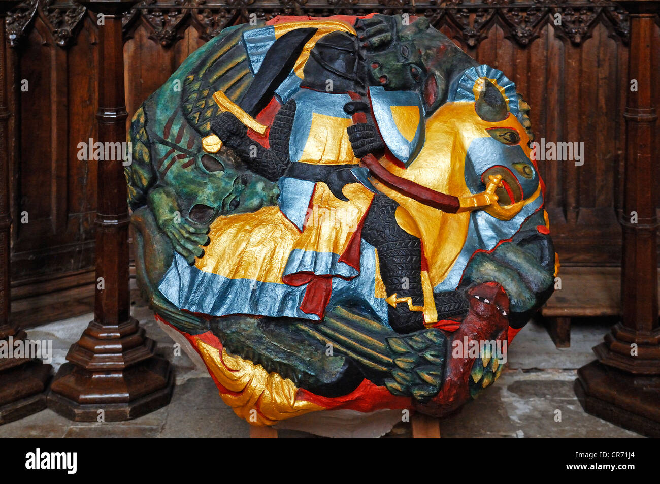 Replica of the largest cope stone of 1300, approximately two tons of weight, Exeter Cathedral, image of Saint George - Stock Image