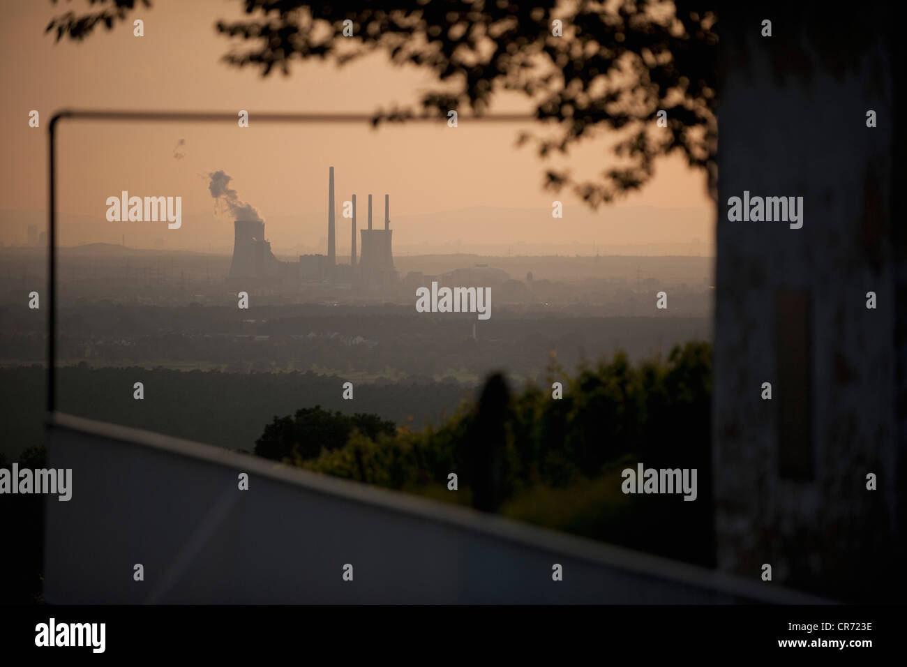 Germany, View of power plant station at sunset - Stock Image
