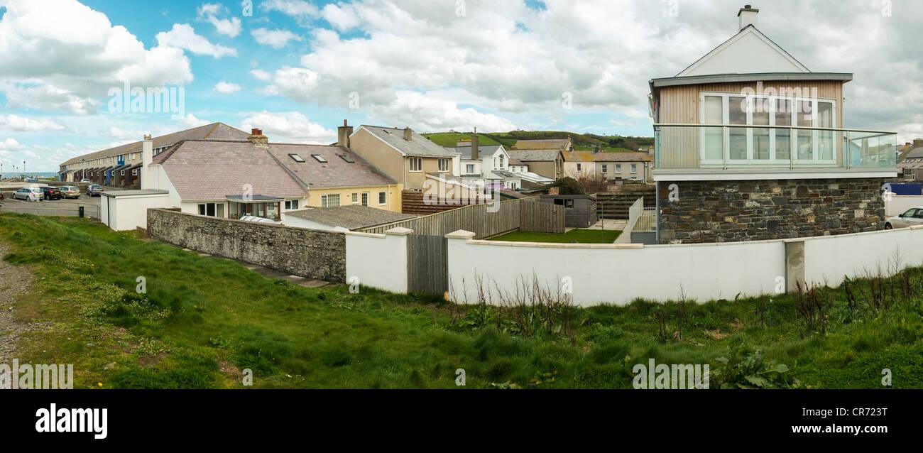 seashore homes, Aberaeron Wales UK - Stock Image