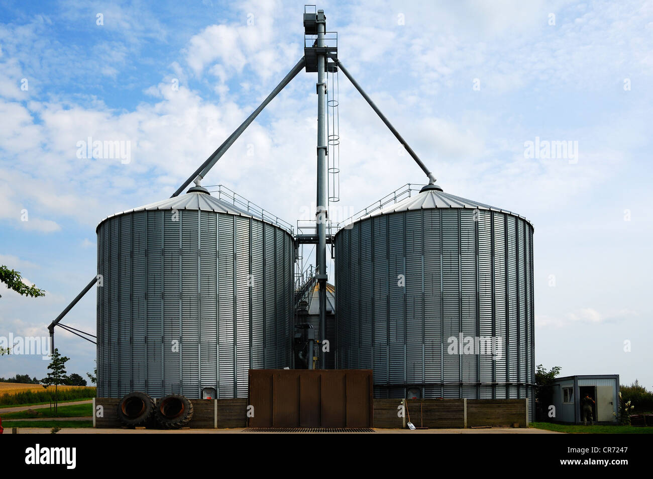 Two huge grain silos, capacity about 1000 tons, Mecklenburg-Western Pomerania, Germany, Europe - Stock Image