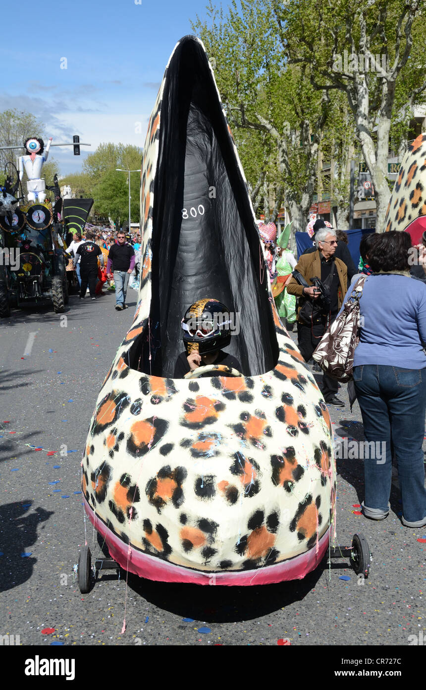 Giant Shoe Car, Custom Car or Novelty Car Float at the Spring Carnival Aix-en-Provence Provence France - Stock Image