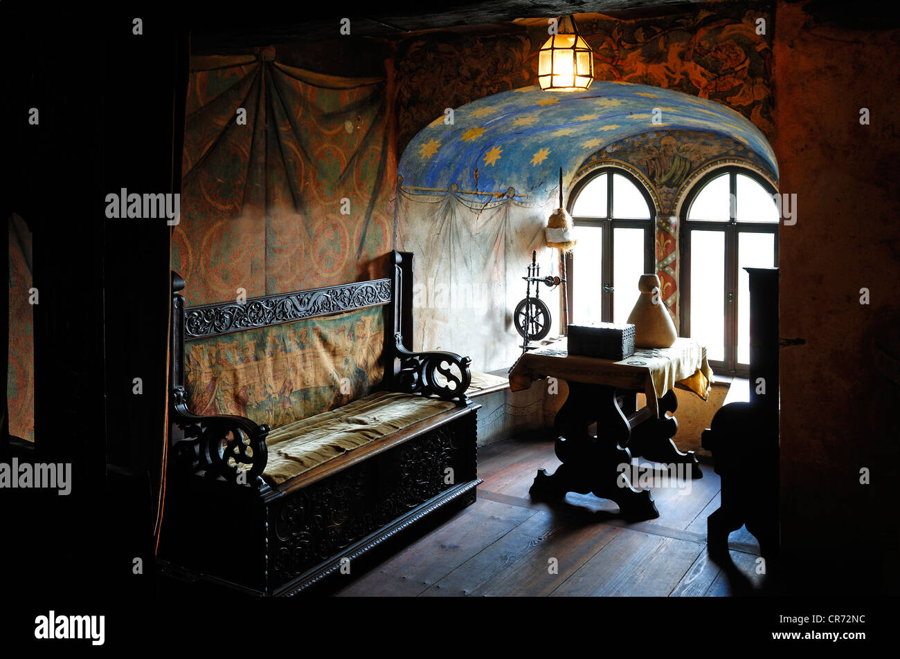 Furnished bower at the Burg Goessweinstein castle, furniture from the 15th century, Goessweinstein, Upper Franconia, - Stock Image