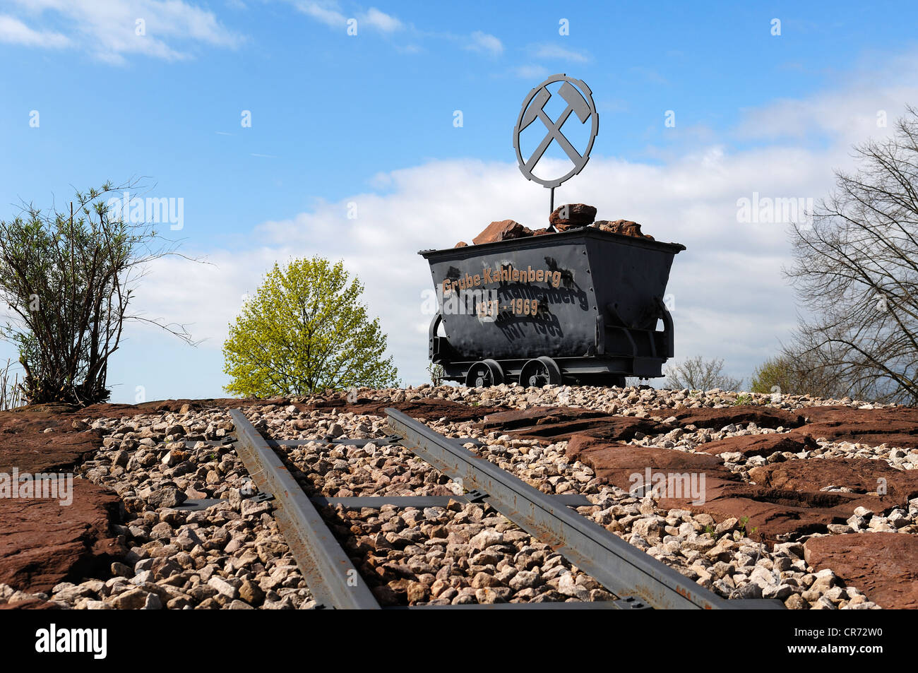Lorry as a reminder of the Grube Kahlenberg mine 1937 - 1969 on a roundabout, Ringsheim, Baden-Wuerttemberg, Germany, - Stock Image