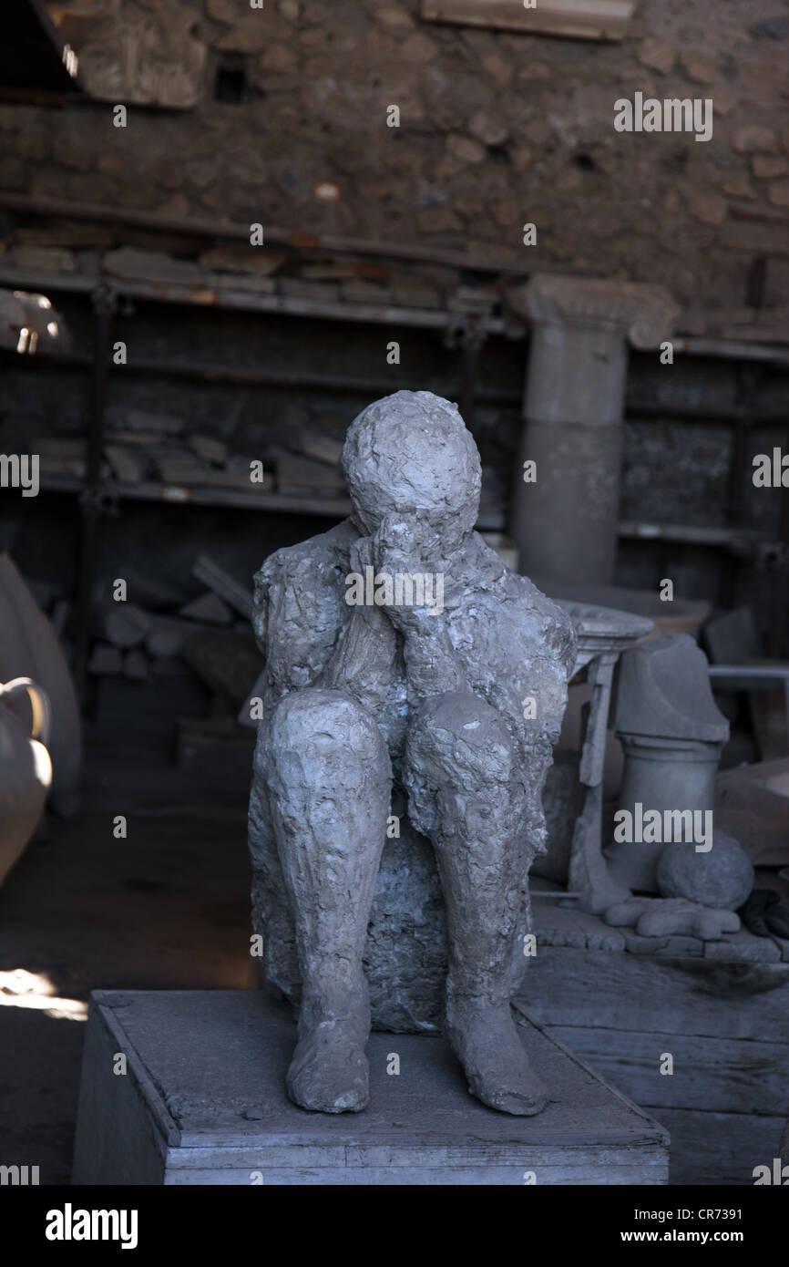 Plaster cast of Pompei victim, Pompei, Italy - Stock Image