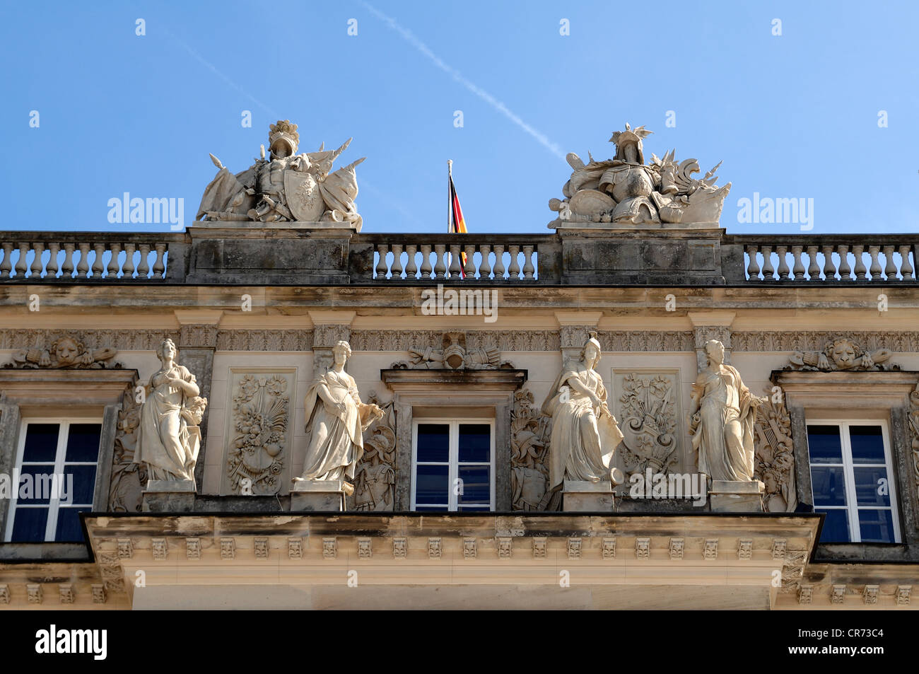 Sculptures on the west facade of Herrenchiemsee Palace, Herreninsel island, Bavaria, Germany, Europe - Stock Image