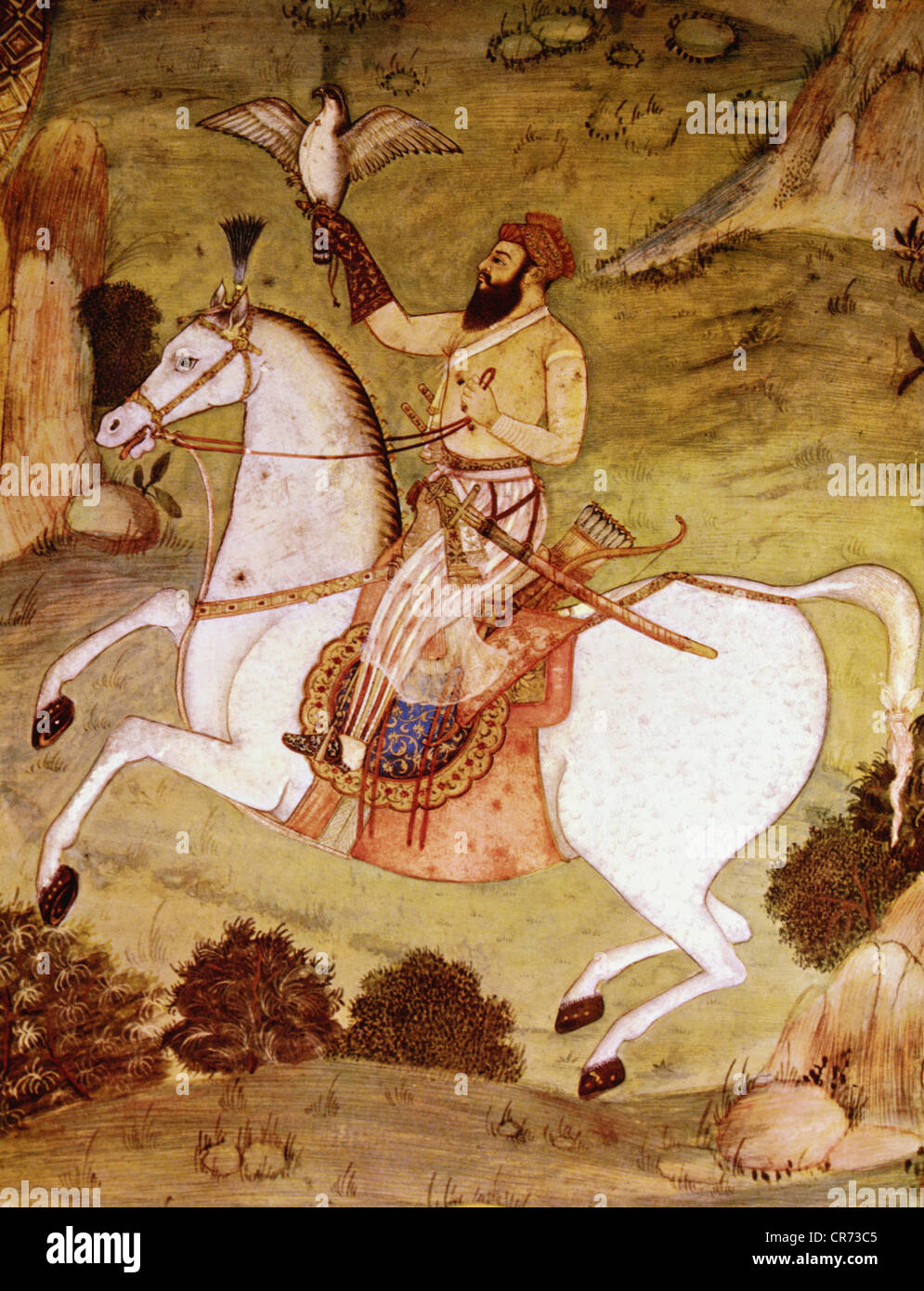 Shah Jahan, 5.1.1592 - 22.1.1666, Mughal Emperor of India 1627 - 1658, half length, during falconry, miniature painting, - Stock Image