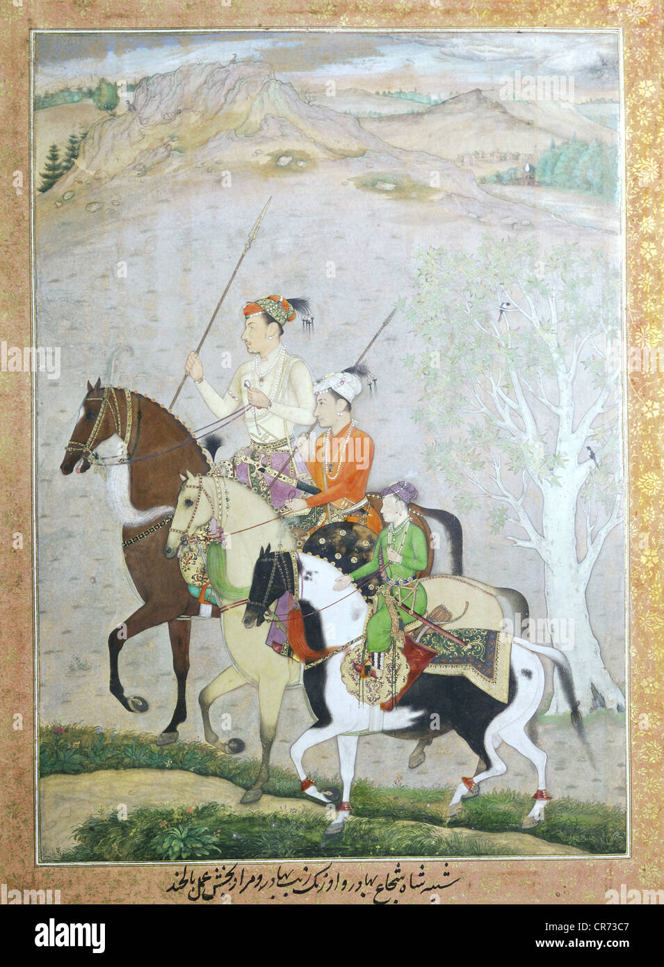 Shah Jahan, 5.1.1592 - 22.1.1666, Mughal Emperor of India 1627 - 1658, his three youngest sons on horseback, with - Stock Image