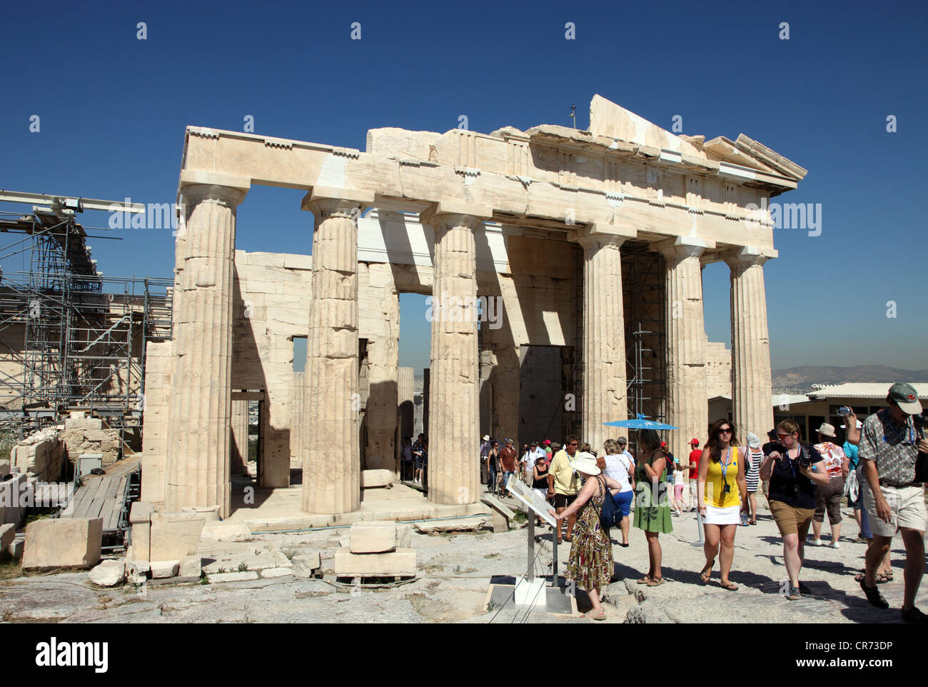 The Propylaea built as an art gallery 437 - 432BC on the sacred rock of the Acropolis Stock Photo
