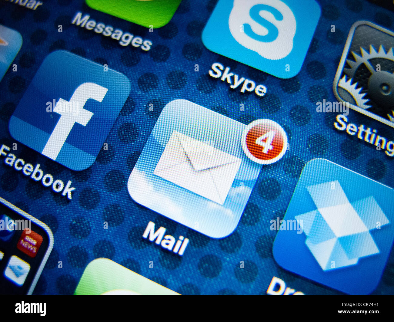 detail of iPhone 4G screen showing Google Mail app - Stock Image